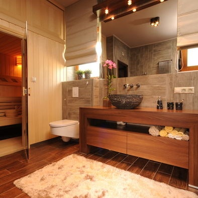 137 best bathroom images on pinterest for Brown and beige bathroom ideas