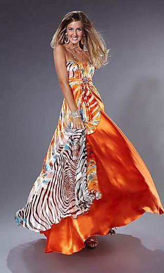 Orange Printed Prom Dress by Prom Girl