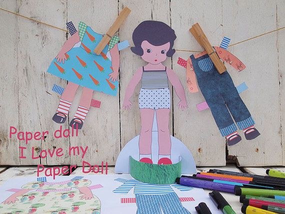 Paper Doll INSTANT DOWNLOAD, Digital  Sheets, Paper Doll, Printable, coloring - $3.90
