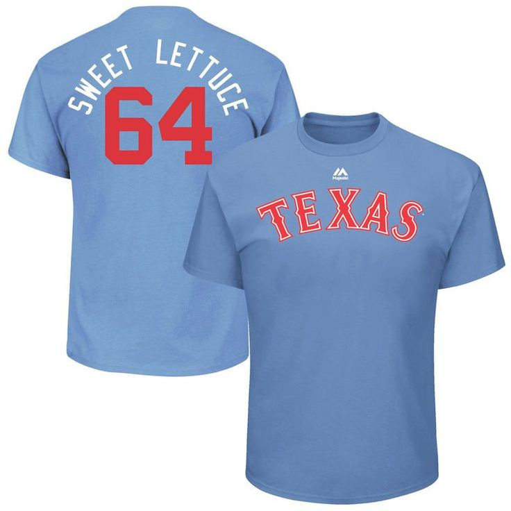 """AJ Griffin """"Sweet Lettuce"""" Texas Rangers Majestic 2017 Players Weekend Name & Number T-Shirt - Light Blue"""