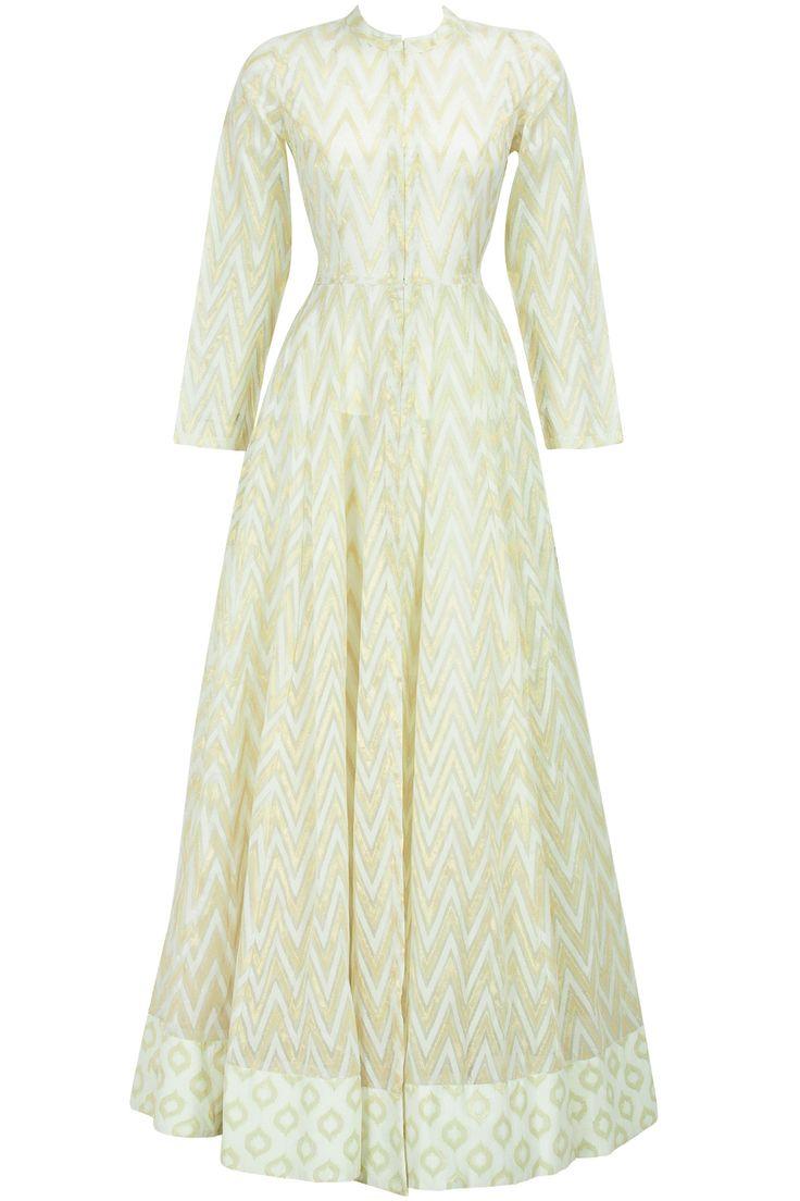 Cream zigzag floor length kurta set BY ANITA DONGRE ON SALE UPTO 70%OFF. Shop now at: http://www.perniaspopupshop.com/ #perniaspopupshop #sale #deals #discounts #AnitaDongre #designer #gold #zigzag #creamcotton #happyshopping