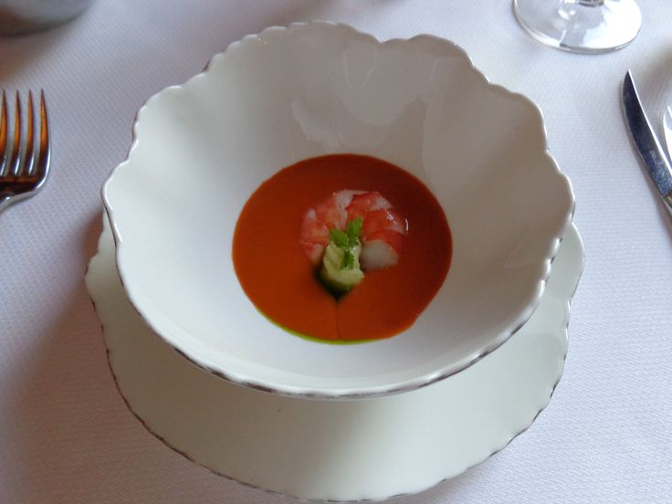 Avocado mousse, prawns and gazpacho from strawberry and cherry tomato @ Restaurace Bellevue