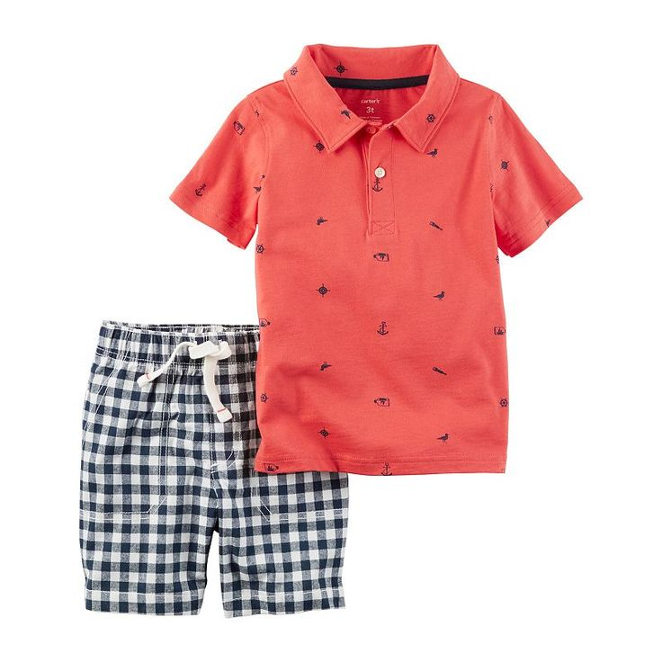 Toddler Boy Carter's Beach Theme Print Polo Shirt & Gingham Plaid Shorts Set, Size: 2T, Ovrfl Oth