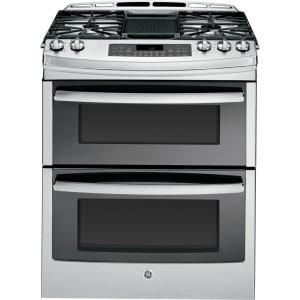 GE, Profile 6.7 cu. ft. Slide-In Double Oven Gas Range with Self-Cleaning Convection Oven in Stainless Steel, PGS950SEFSS at The Home Depot - Mobile