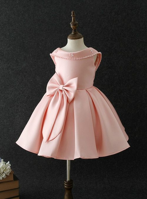 Baby Girls Big bow princess dress Pearl Sequins Birthday party ... f9a52867e368