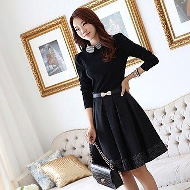 Grande estilo OL estilo coreano elegante vestido de manga longa Slim JIANFANSU mulheres - BRL R$ 48,13