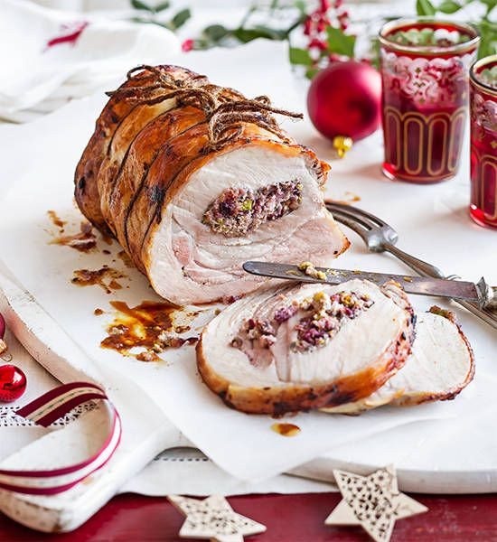 Pork with cherry and pistachio stuffing: Take a hike, turkey! This gorgeous pork loin with fruity, nutty stuffing looks really impressive, but is simple to make – just stuff, tie, r...