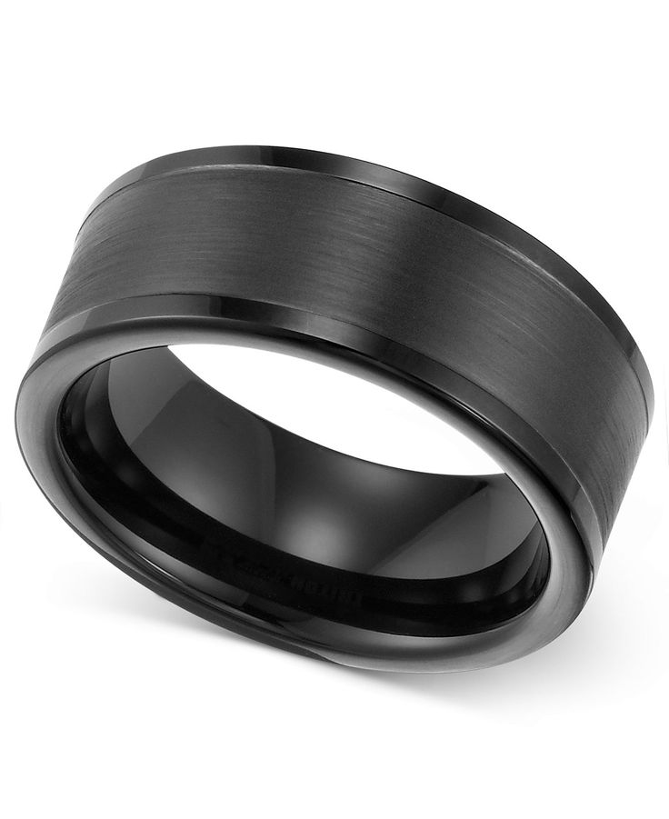 Wedding Ring Bands >> Triton Men's 8mm Black Tungsten Wedding Band | Tungsten ...