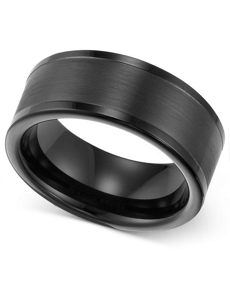 triton men 39 s ring 8mm black tungsten wedding band rings macy 39 s