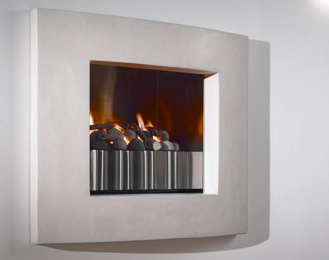Firescape - simple fireplace, limestone frame, with pebble and woof fire objects.