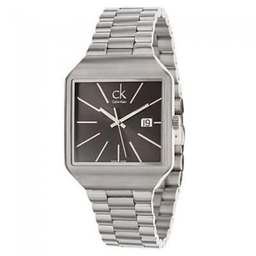 Calvin Klein Men's Gentle Swiss Quartz Black Face Square Watch - K3l31161 Stainless Steel 37 Mm 30 M (100 Feet) Mineral Crystal 9 Screw-in Closed 46 Silver Tone Hands Luminescent