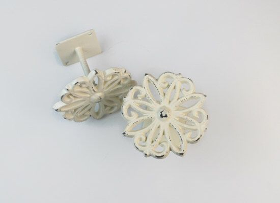 Curtain Tiebacks, Antique White, Curtain Tie backs, Curtain Holdbacks, Set of two, Cast Iron, Metal, Shabby Chic Home Decor, Nursery Decor by TheChicDecorShop on Etsy https://www.etsy.com/listing/162330440/curtain-tiebacks-antique-white-curtain