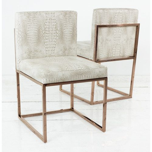 Feast Your Eyes On Our Gorgeous 007 Dining Chairs Finished In Allie Steel Faux Crocodile Leather Featuring A Rose Gold Frame These Are