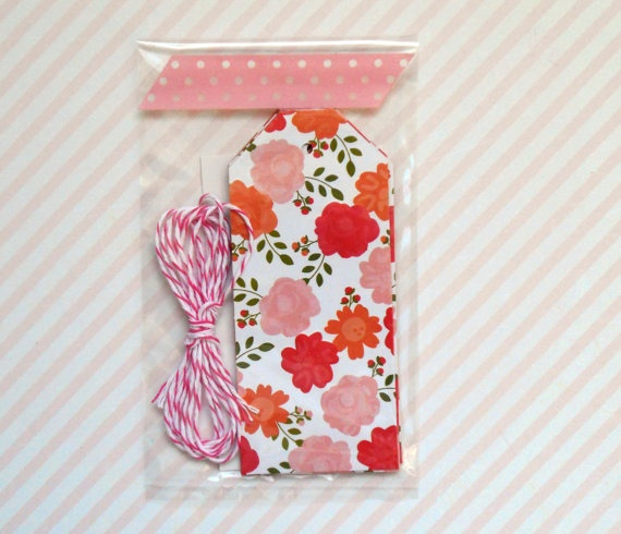 flower gift tags rose and pink double sided 5pak by magdalenarose