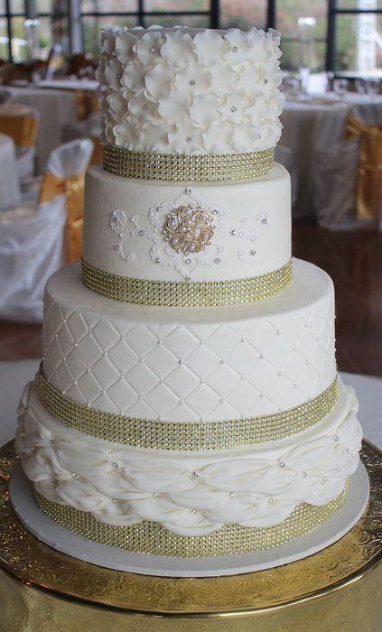 Ivory/ Gold Wedding cake - by CakesbyKerrin @ CakesDecor.com - cake decorating website