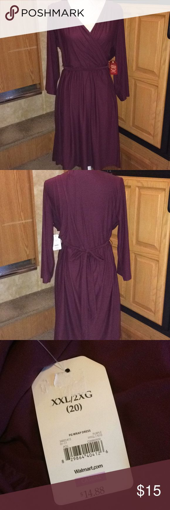 """Faded Glory Purple Faux Wrap Dress XXL NWT Length measures approximately 41"""" from shoulder to hem. I can provide additional photos or measurements upon request. I do not trade or hold items. Faded Glory Dresses"""