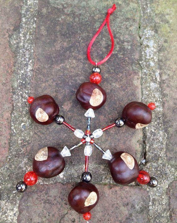 buckeye christmas ornaments diy | Buckeye Snowflake Ornament made with REAL Buckeye Nuts grown in Ohio