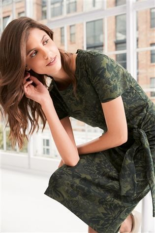 Khaki Tie Front Midi Dress
