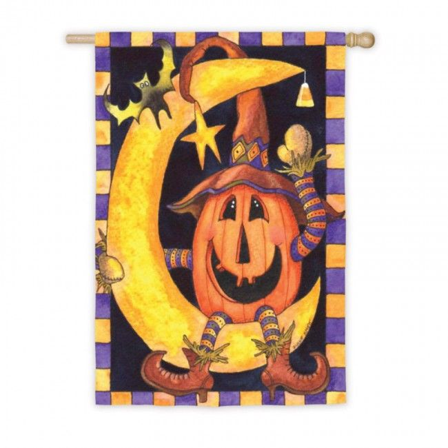 This Halloween be as happy as a Jack O'lantern sitting on the moon!   Pumpkin Moon House Flag.   From our house. To your home. HouseFlags.com