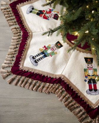 """Nutcrackers"" Tasseled Christmas Tree Skirt at Horchow."