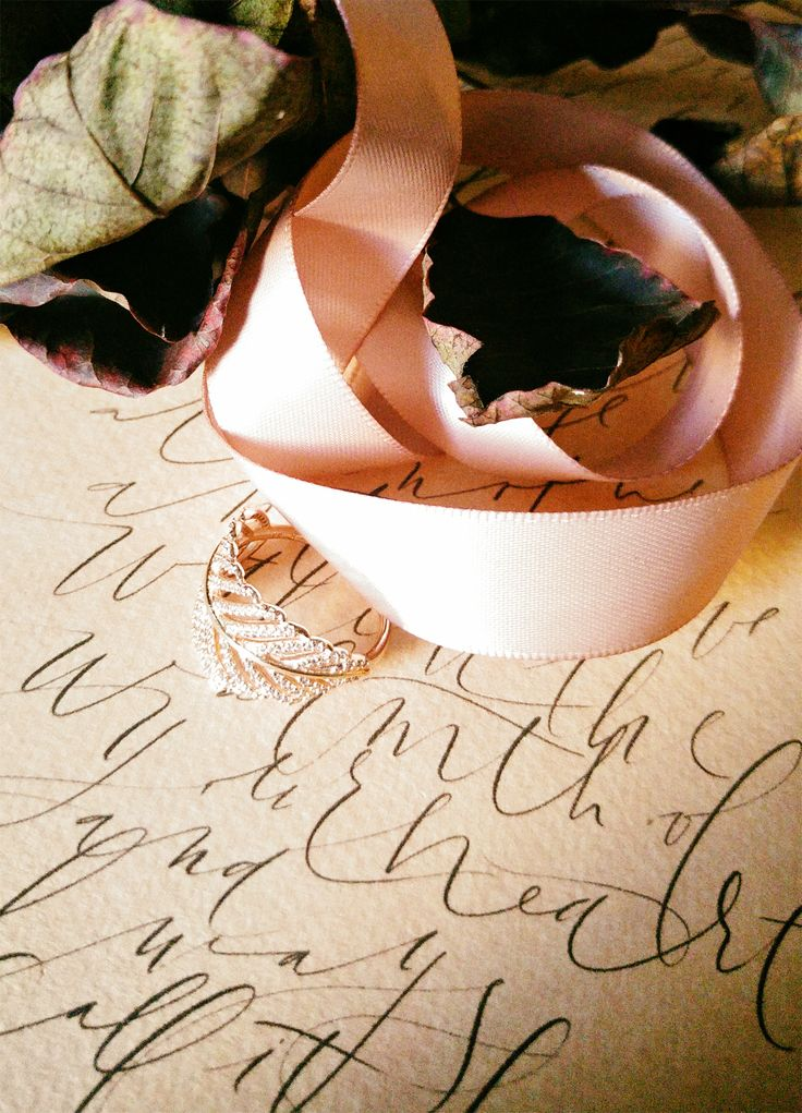 Matters of the heart.  A romantic love letter written in an organic calligraphy style and a dash of dusty pink.