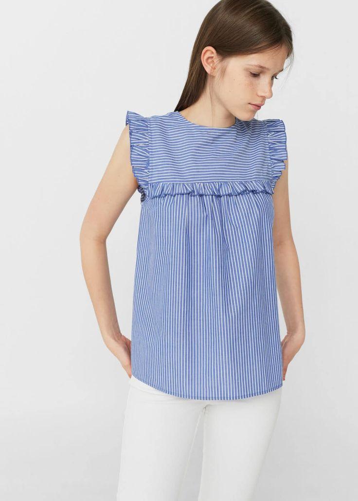 Bedruckte Bluse mit Volants