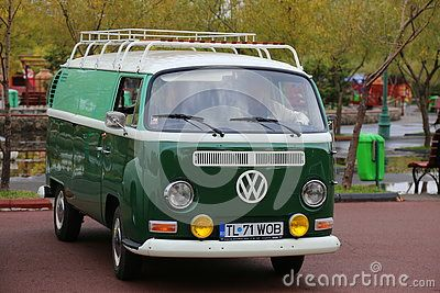 Volkswagen Transporter T1 Deluxe Samba 1964 parked at vintage cars parade in Bucharest, Romania.