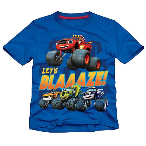 "Nickelodeon Boys Blue Blaze and the Monster Machines ""Let's Blaaaze!"" Short Sleeve Graphic T Shirt - Toddler - Extreme Concepts - Babies ""R"" Us"
