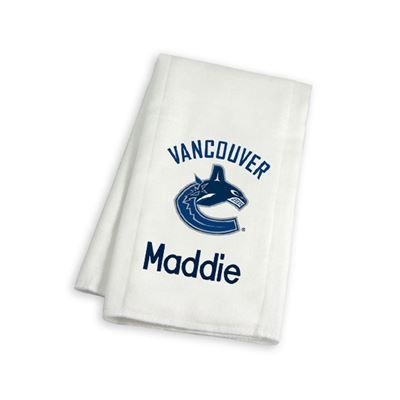 Keep your baby and future NHL star neat and clean with our officially licensed Personalized Vancouver Canucks Burp Cloth.