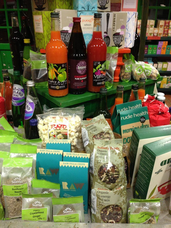 The Organic Farm Shop, Gloucestershire. Juices, nuts and seeds, cereals and grains, teas, beans and pulses - and, of course, our lovely fresh organic fruit and vegetables http://www.organicholidays.co.uk/at/2102.htm