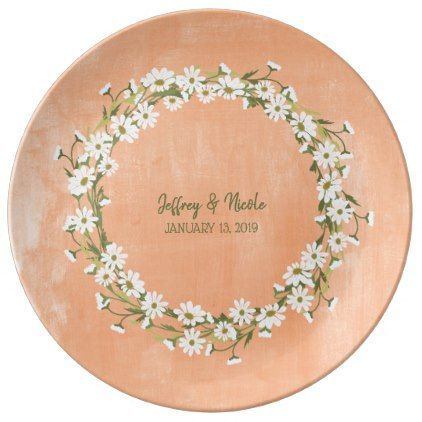Daisy & Peach Floral Wedding Dinner Plate - home gifts ideas decor special unique custom individual customized individualized