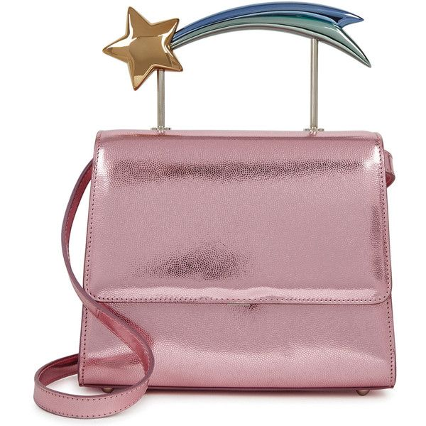 Ming Ray Supernova Metallic Pink Leather Box Bag ($1,235) ❤ liked on Polyvore featuring bags, handbags, shoulder bags, purple shoulder bag, pink shoulder bag, purple leather purse, pink purse and pink leather purse