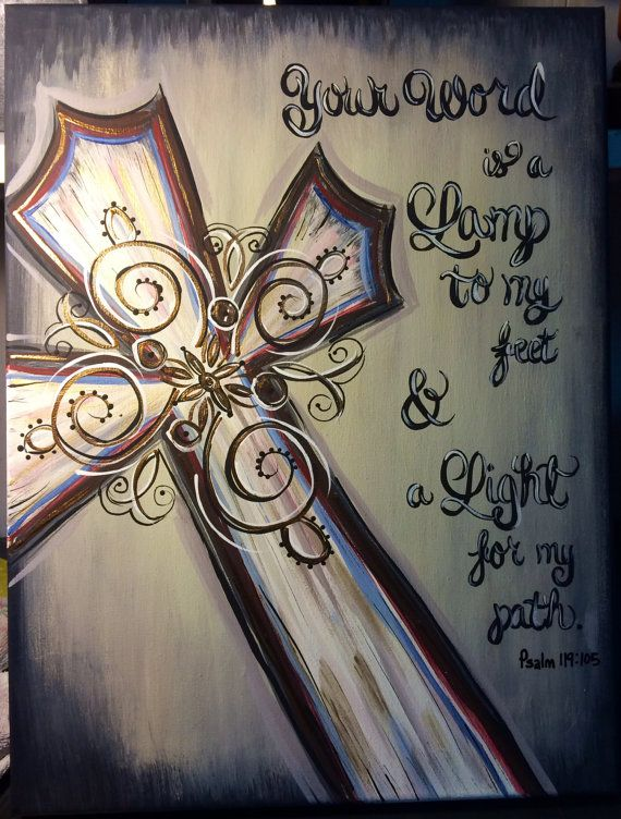 "Original Acrylic Canvas Cross ""Your Word Is A Lamp"" Scripture Painting 12x16"