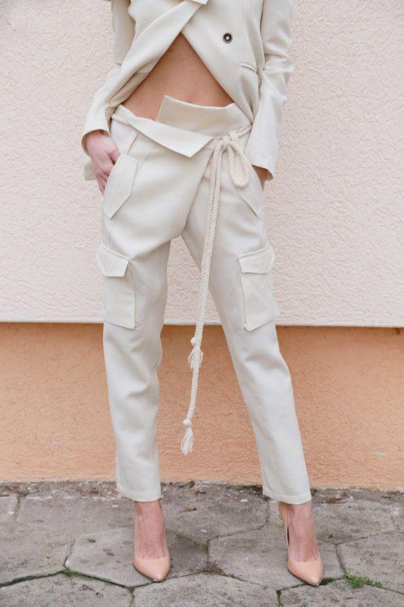 Tapered Pants/Loose linen Pants/ Casual Drop Crotch Pants/Wide Leg Pants/ Straight leg pants/Trousers/White Linen Pants/F1554