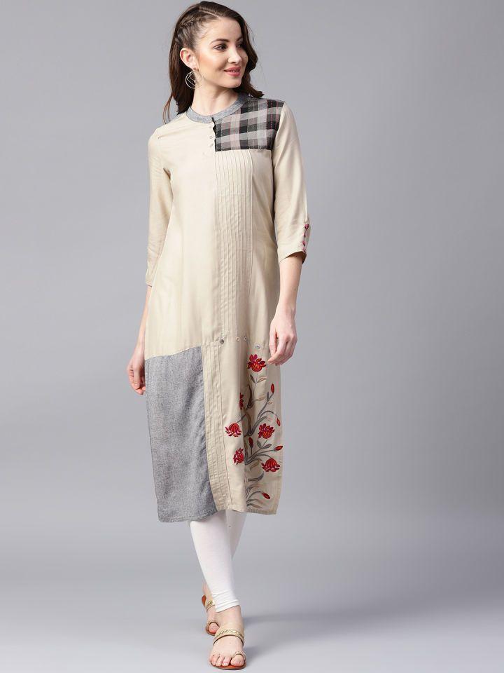 0fe91a1587 Buy ANAISA Women Grey Embroidered Straight Kurta - Kurtas for Women 7206553  | Myntra