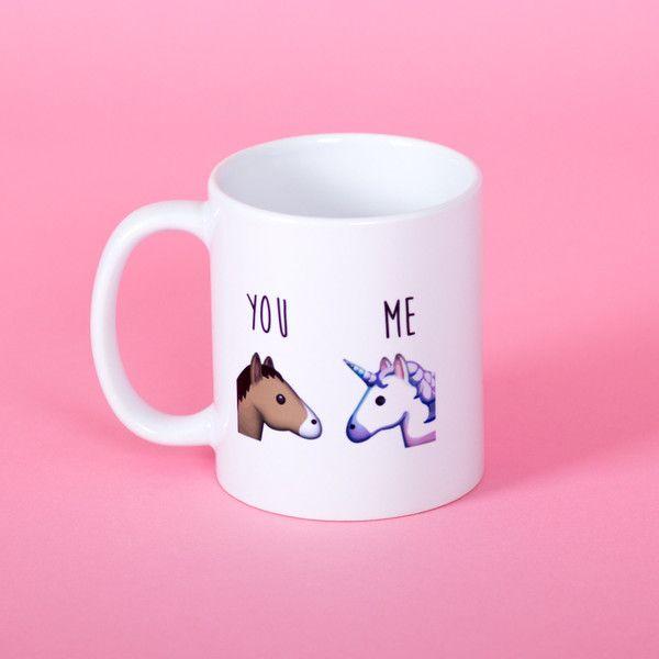 You and Me Unicorn and Horse Emoji Mug Funny Mug Rude Mug Mug Cup... (€12) ❤ liked on Polyvore featuring home, kitchen & dining, drinkware, drink & barware, home & living, mugs, pink, horse mug, ceramic mugs and pink cup
