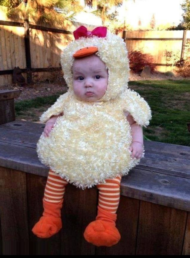 Baby in a chicken costume