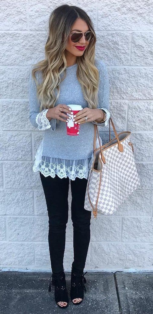 #winter #fashion //  Grey Laced Top // Black Skinny Jeans // Open Toe Black Booties