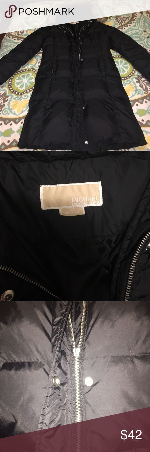 Michael Kors puffer coat Black Michael by Michael Kors down puffer with fur trim hood. Excellent condition, however in pic 2, the buckle on the top part of the zipper fell off but should be easily fixed... don't need this jacket anymore bc I'm in California MICHAEL Michael Kors Jackets & Coats Puffers
