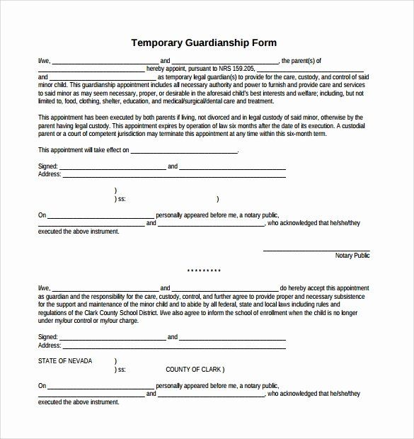 Free Temporary Guardianship Form Template In 2020 Indesign