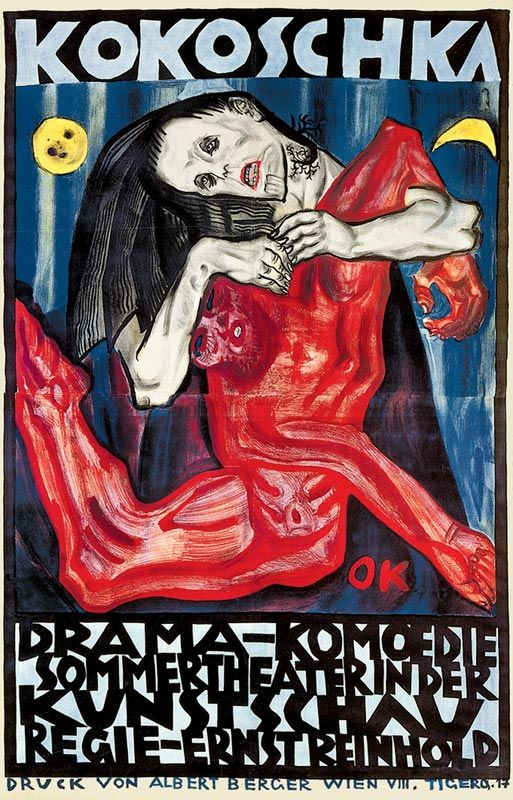 """Oscar Kokoschka (Austrian-Swiss, 1886 - 1980)  Pietá,, poster for a play """" Murder. The Hope of Woman"""" in the Art Show (Pietá, Plakat für ein Bühnenstück Oskar Kokoschkas in der Kunstschau), 1908"""