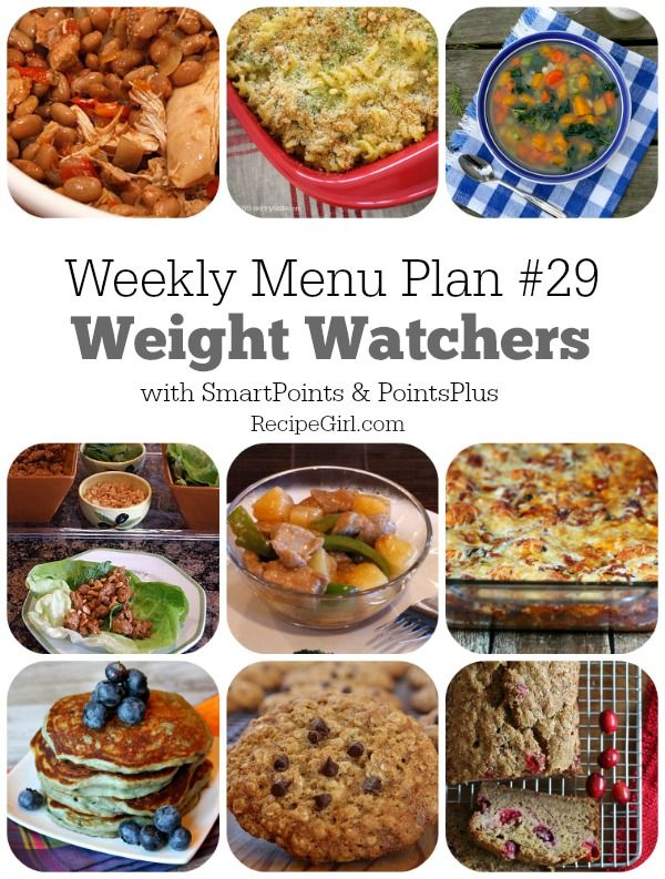 Weekly Menu Plan #29 Weight Watchers