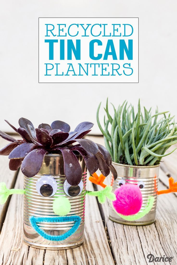 Celebrate Earth Day everyday with these Recycled Tin Can Planters. Super fun for kids!