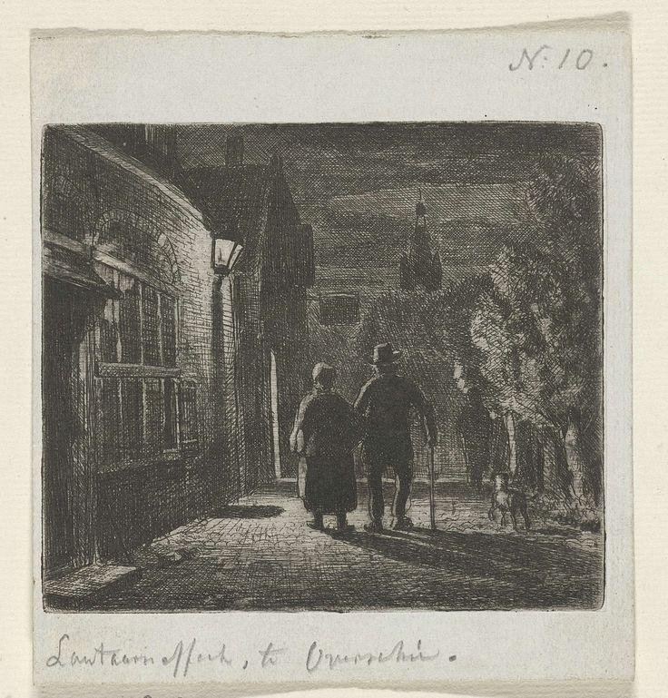 Cornelis van der Grient | Lantaarneffect, Cornelis van der Grient, Jan Weissenbruch, 1837 - 1918 | Man en vrouw lopen gearmd op straat. Rechts een hond en een figuur, links een straatlantaren.