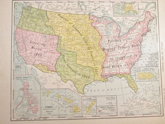 United States Map Of U S Territories 1900 Porto By Girlpickers Vintageoffice