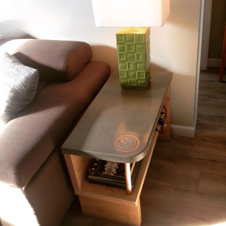 Concrete and fir end table