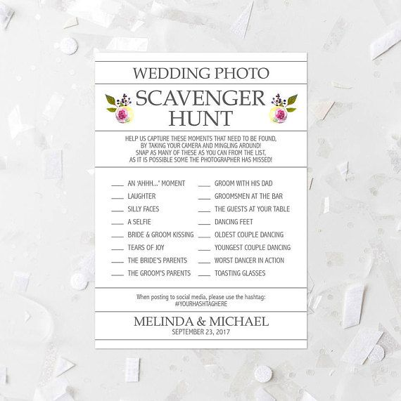 Floral Wedding Photo Scavenger Hunt List Printable White Floral Wedding Reception Activity Wedding Scavenger Game Wedding Photo Activity 261