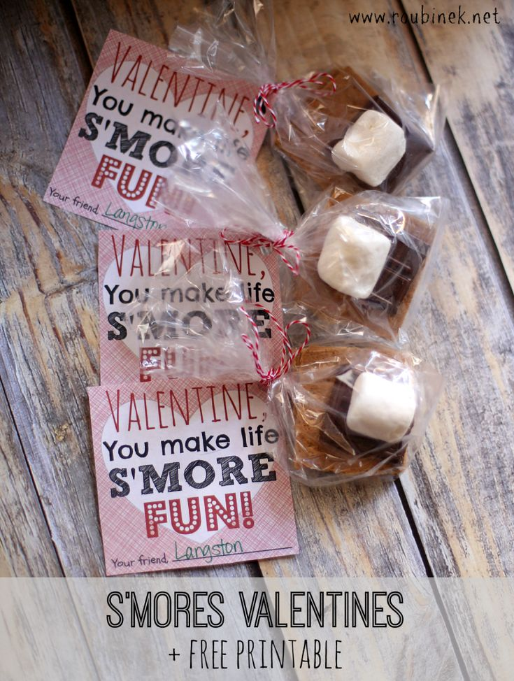 DIY S'mores Valentines | Easy Valentine's Day kids activity for your child to put together for their classmates and the free printable is included. | Roubinek Reality www.roubinek.net