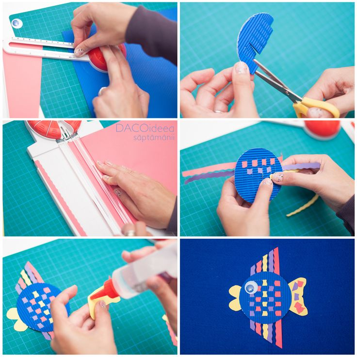 DACOideea săptămânii - Peștișor. Materiale: Cercuitor, Trimmer multiforme, Carton ondulat, Hârtie colorată asortată 10 culori A4, Ochi mobili cu pupilă colorată, Silipici, Foarfecă grădiniță și Planșetă tăiere A3. TUTORIAL VIDEO: https://youtu.be/onVhWzknUk0. Magazin online: http://www.dacomag.ro.