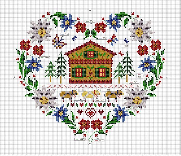 Chalet heart, free pattern